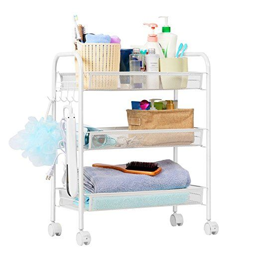 KuanGuang 3-Tier Serving Trolleys Metal Mesh Storage Units Rolling Cart Trolley on Wheels for Kitchen, Home, Office 65 cm x 45 cm x 25 cm, White