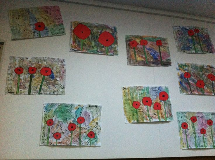 Anzac Day art I created. Background is cut up pieces of The Ode and The Last Post, covered with a wash of water colours. Children were then able to add as many or as little poppies as they wanted with red and green paper. They then used sharpies to outline their poppies and stems.