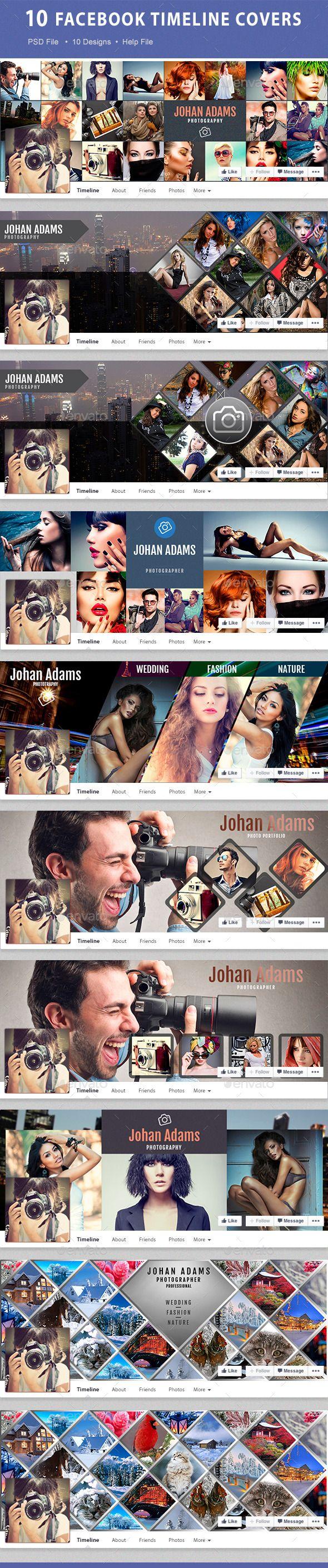 10 Facebook Timeline Covers Template PSD #design