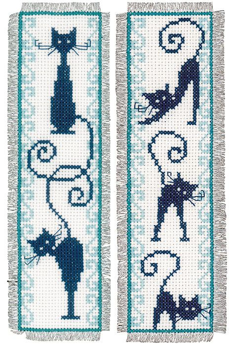 Cheerful Cats Bookmarks Cross Stitch Kit | sewandso