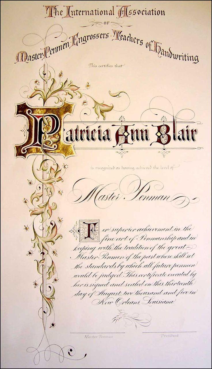 Master Penman Certificate  Patricia Blair
