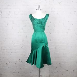 1960s Ceil Chapman Dress Green Satin Wiggle Bombshell hollywood glamour  | eBay