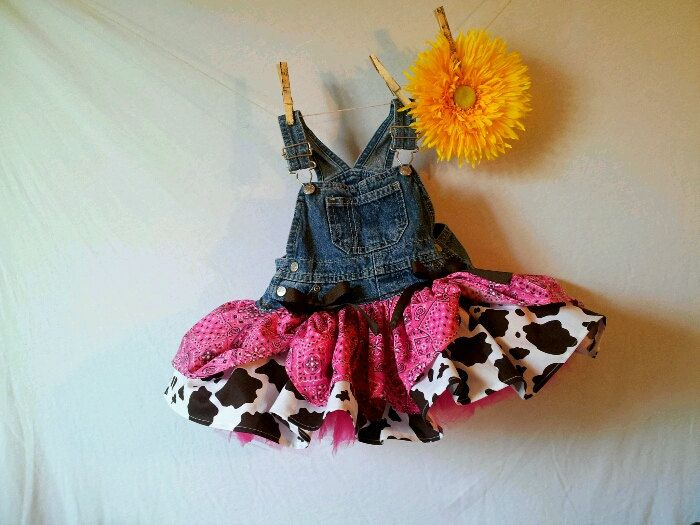 Ride'm Cow Girl pink bandanna and cow print overall tutu skirt newborn - 4T , girls to tween. $40.00, via Etsy.