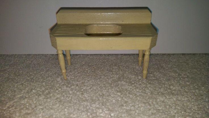 Vintage Strombecker Dollhouse Wood Furniture White or Beige Kitchen Sink | eBay