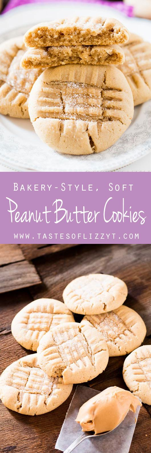 Bakery Style Soft Peanut Butter Cookies This is THE BEST peanut butter cookie recipe. They stay soft for days!!