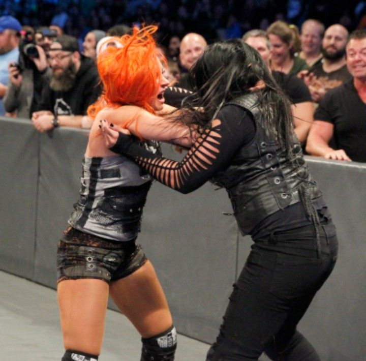 Tamina and Becky Lynch going at it