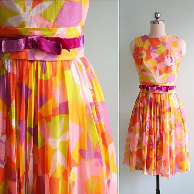 NEW in the Etsy shop! Lil mod neon color blocked chiffon dress!!!