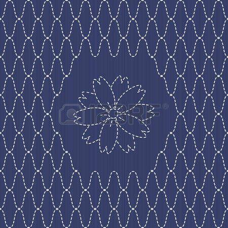 刺し子: 桜の花と伝統的な日本刺繍飾り。 刺し子釣りネット モチーフ。 抽象的な背景。針仕事のテクスチャです。ベクトル。シームレスなパターンとして使用できます。