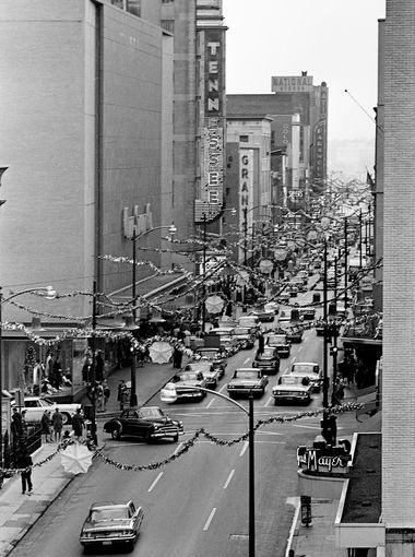 Church Street In Downtown Nashville Nov 1964 Is All Dressed Up For The Holidays As Pers Start Looking Gifts To