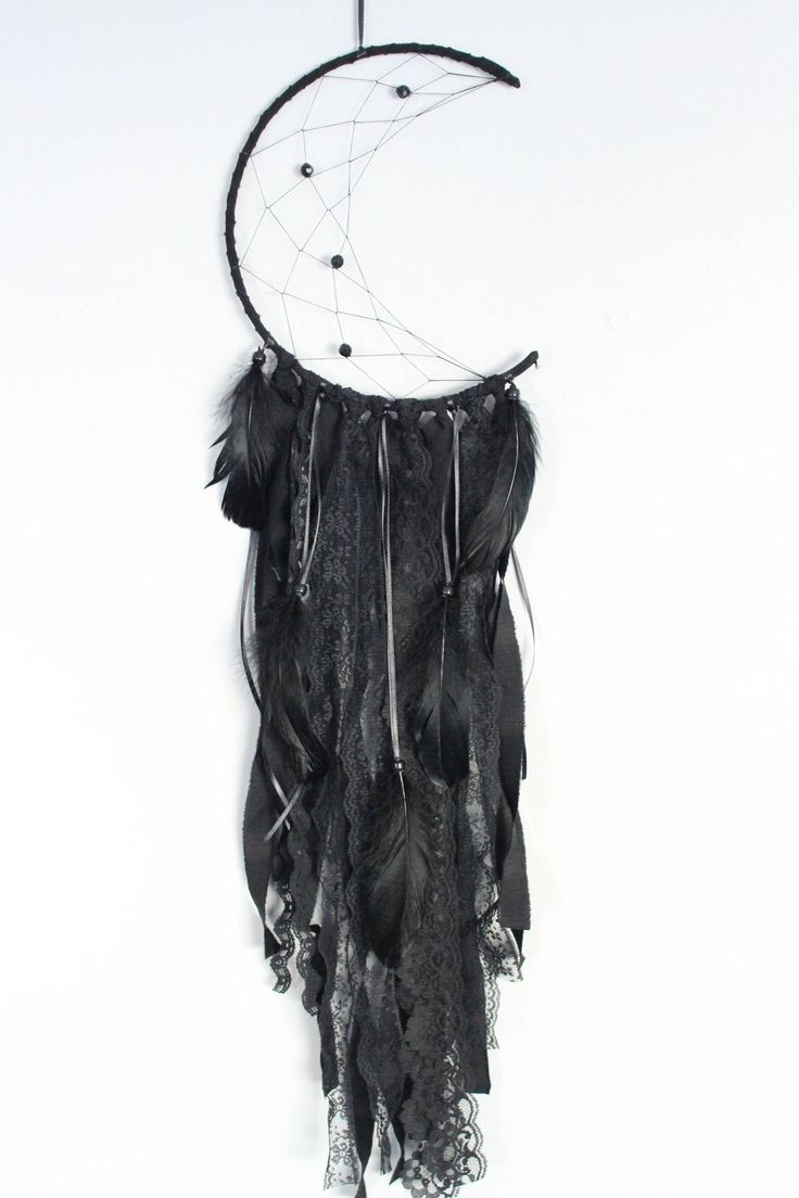 All black cresent moon dreamcatcher, 9 inch drem catcher, moon catcher by autumnandlilydesigns on Etsy https://www.etsy.com/ca/listing/572613928/all-black-cresent-moon-dreamcatcher-9