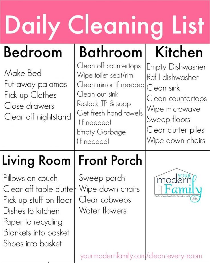 Printable Daily Cleaning List