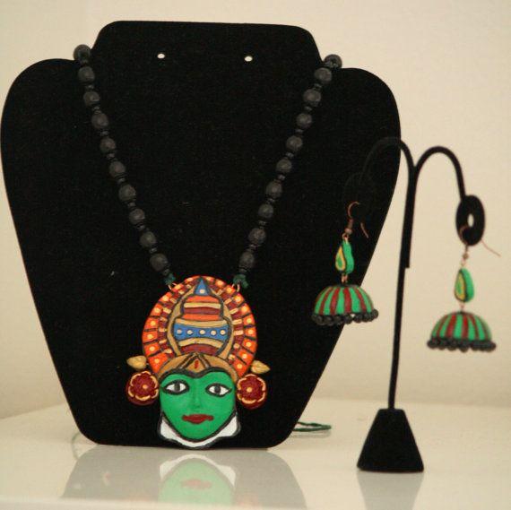 Kathakali Mask Necklace Set by Bagoholics on Etsy, $50.00