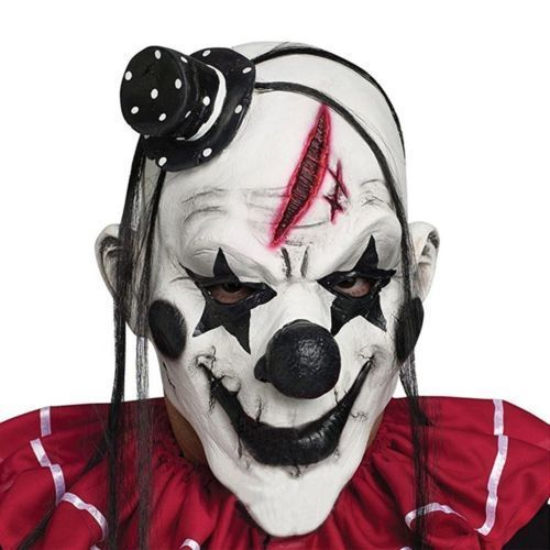 Scary Clown Mask Black Halloween Costume Accessory Creepy Circus Latex Adult  #YUFENG