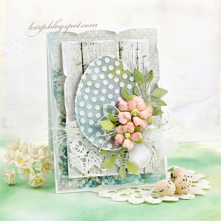 The textured, stenciled polka dots make this modern, yet classic at the same time. What a beautiful Easter card!