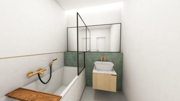 Návrh kúpeľne bytu - interiér Slnečnice, Bratislava - Interiérový dizajn / Bathroom interior by Archilab