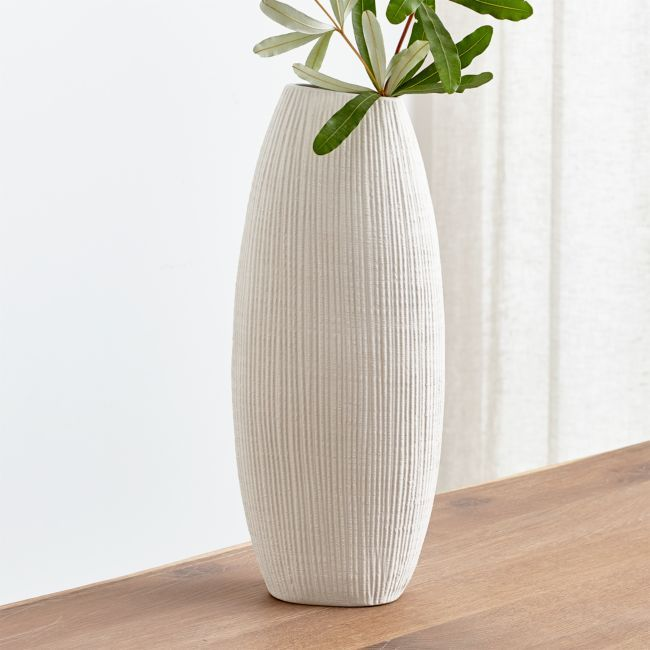 Alura Cream Tall Vase Reviews Crate And Barrel Tall Vases Large White Vase Vases Decor