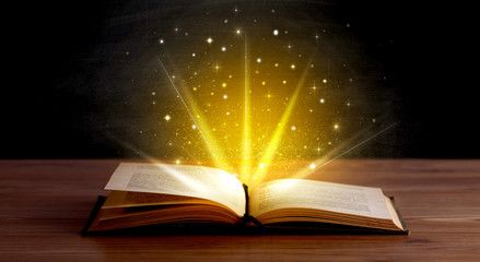 Yellow lights over book