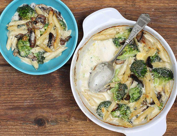 Pasta al Forno with Perl Las, Mushies & Broccoli Recipe | Abel & Cole