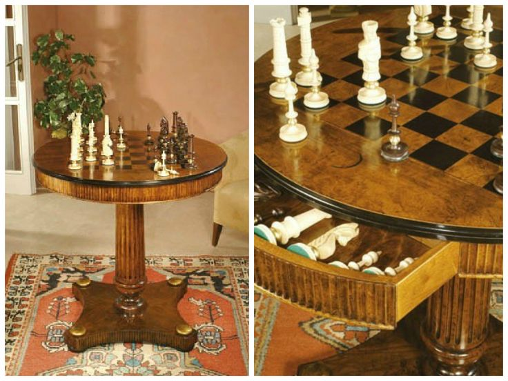 Game Table with imperial #chessboard , in antique completion, #chess from wood, carved by hand