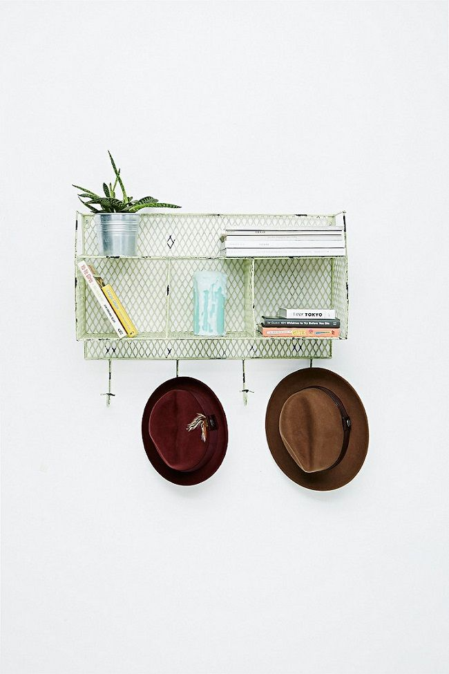 small entrance hall ideas, industrial green wire rack