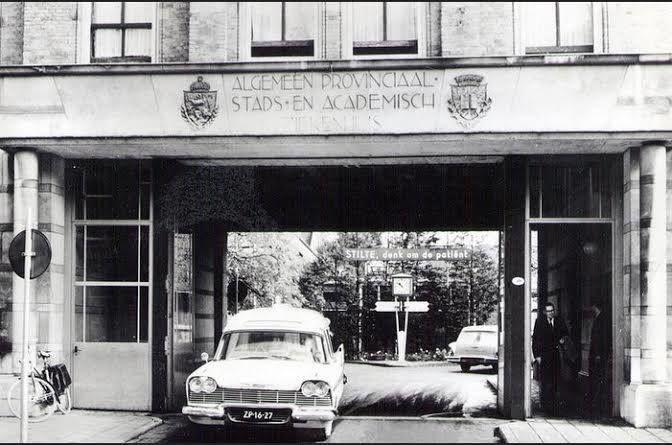 Groningen<br />De stad Groningen: Oostersingel ingang Academisch Ziekenhuis 1965