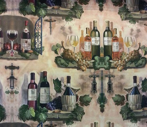 Wine bottles printed heavy weight polyester viscose upholstery fabric-Half meter-wide fabric