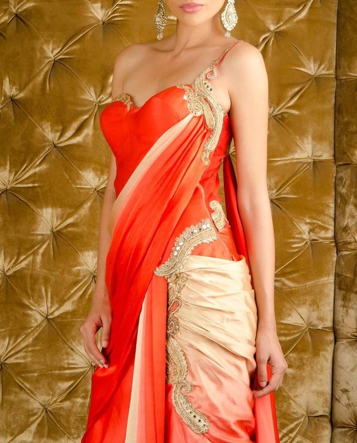 Coral and Golden Blush Saree Gown - Exclusively In...like some of the detail, would want more work