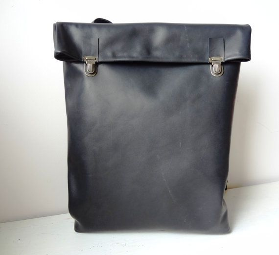 Minimalist Leather Backpack / Leather Rucksack / Messenger / Laptop / Tote / Women/ For Her/ For Him/ Black/ Minimalist