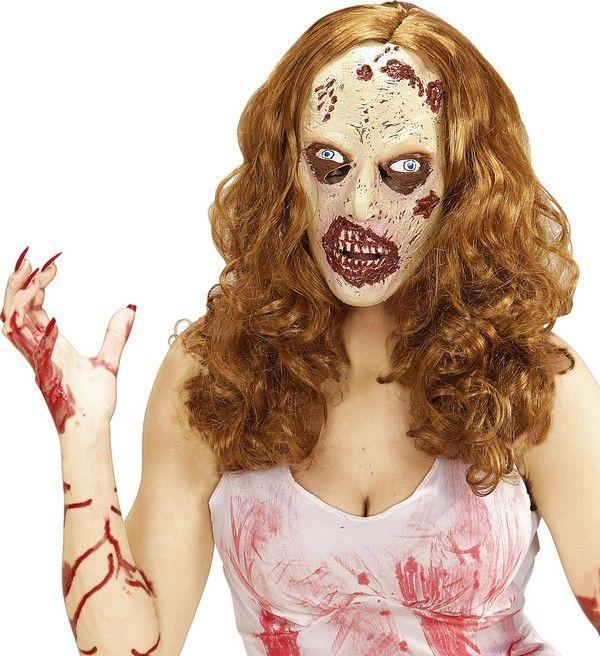 Zombie pruik met masker voor volwassenen Halloween : Dit masker van latex met pruik voor vrouwen stelt een zombie gezicht voor met blauwe ogen.De pruik bevat synthetische donker blonde haren.Het masker en de pruik zijn gemakkelijk aan te...