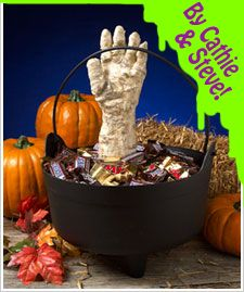 This creepy glowing hand is the perfect Halloween decoration.  You can place the hand in a large bowl filled with candy and frighten any kids trick or treating or place it on a table/mantle for a little spooky décor.