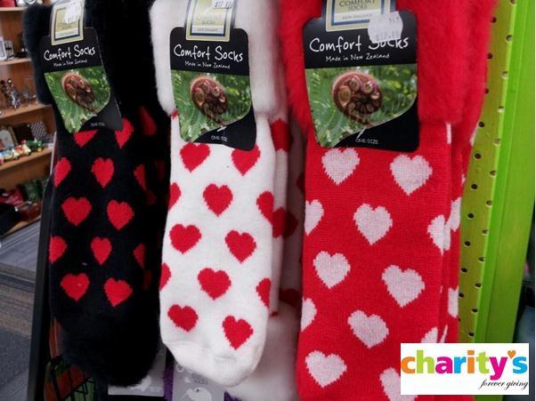 Love heart socks - Charity's Rotorua - All profits go towards funding charity groups and events - www.rotorua.co.nz