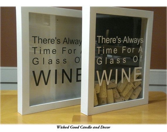Shadow Box Wine Cork Holder  There's always by WickedGoodDecor, $21.99