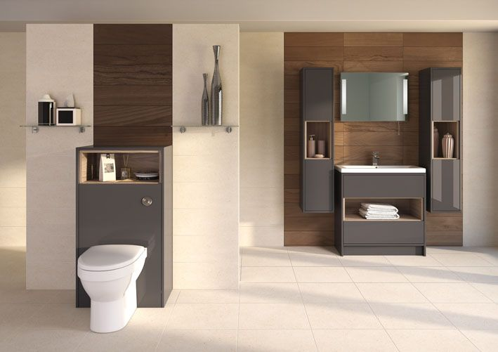 The minimalist design of Coast is the height of contemporary fashion and an ideal solution for daily life. The open shelves contrast beautifully with the grey fascia with even the WC unit offering storage and design.