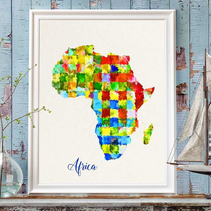 Africa Map Print, African Map, Africa Wall Art, Watercolor Africa Map Print, Colorful Africa Map Poster, Nursery African Decor (717) by PointDot on Etsy