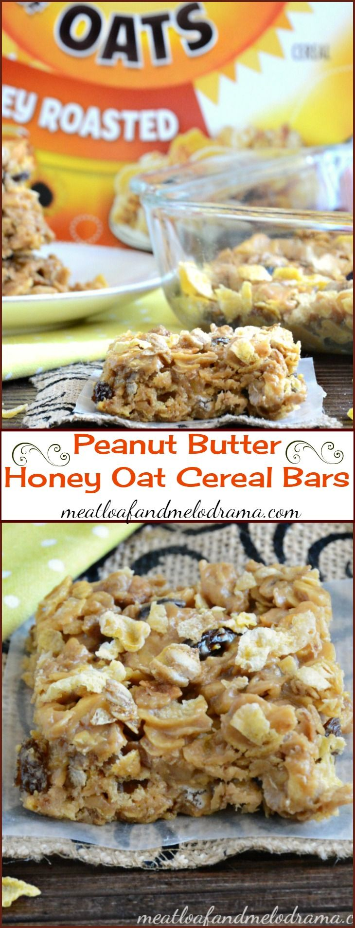 Peanut Butter Honey Oat Cereal Bars -- A quick and easy no bake treat or dessert made with Honey Bunches of Oats cereal and perfect for a grab and go breakfast or or after school snack. AD