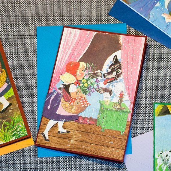 Little Red Riding Hood: One of a kind #greeting card, layered 3d effect, no text inside, handmade in Norway