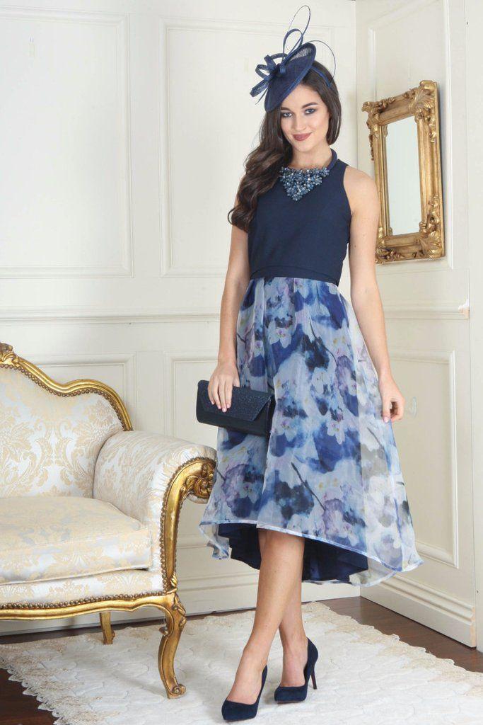 Maeve Navy Sheer Overlay Dress