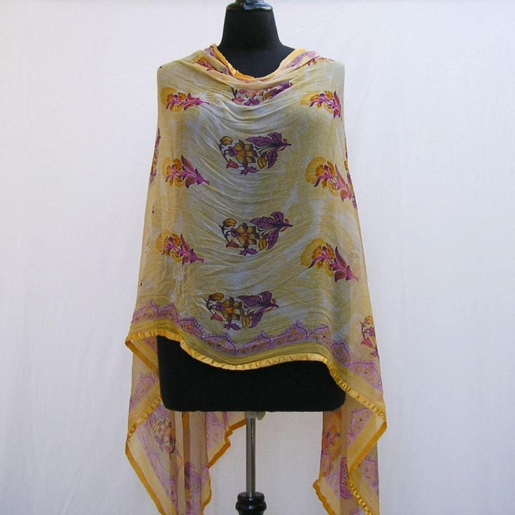 Pink and yellow poncho, yellow wrap, asymmetrical poncho, yellow shawl, yellow capelet, upcycled poncho, pink floral poncho, floral wrap by Rethreading on Etsy