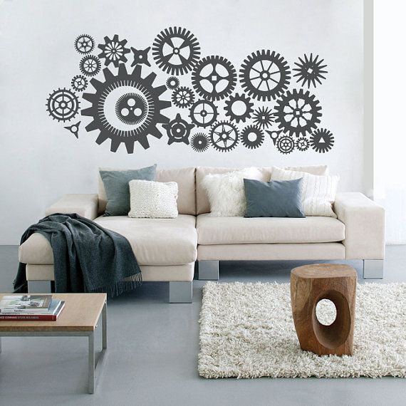 """Stickers """"steampunk"""" engrenages 60 x 25 pouces 60 €  http://www.etsy.com/listing/86244398/27-gears-60w-steampunk-gears-and-cogs"""