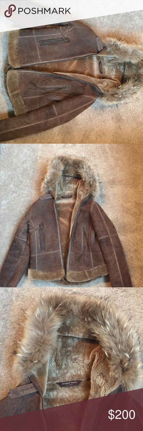 Andrew Marc fur jacket! Great quality so warm! New wore only a few times great Jacket! Size L but feels like M. Open for any offers!😊 Andrew Marc Jackets & Coats Puffers