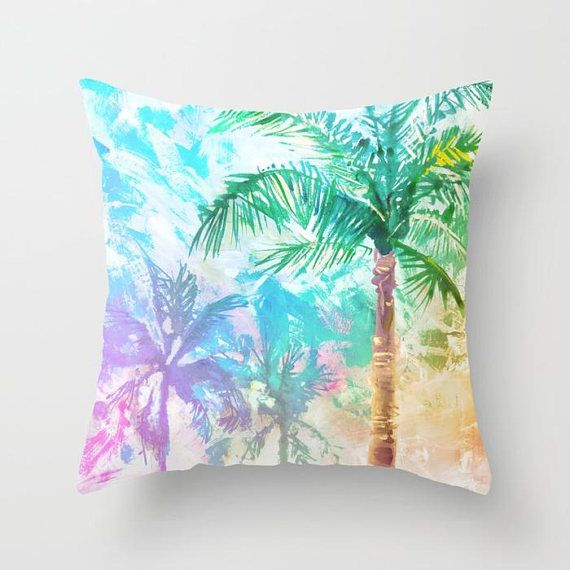 """Tropical beach decor in pastel colors! Feel the warm breeze through the palm trees, and the sand in your toes!  Choose from super soft velveteen or hardy canvas (Canvas pillowcase are great as outdoor pillows, made from 100% polyester upholstery canvas!) WHAT YOULL RECEIVE: --------->One pillowcase with printed design - (No pillow form included) ---------> 18x18"""" or 22x22 pillow form (please choose from drop-down menu) --------->Easy to clean! Zipper to remove pillowcase. ---------&g..."""