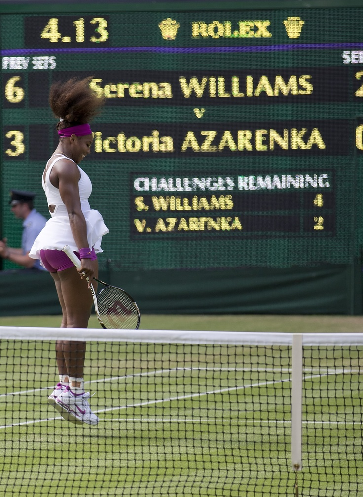 Serena Williams celebrates her semifinal victory over Victoria Azarenka at the 2012 Wimbledon Championships.  Serena will play her seventh season of World TeamTennis this summer with the Washington Kastles.
