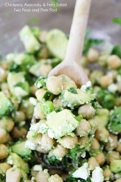 Easy Chickpea, Avocado, & Feta Salad by twopeasandtheirpod #Salad #Chickpea #Avocado #Feta #Healthy