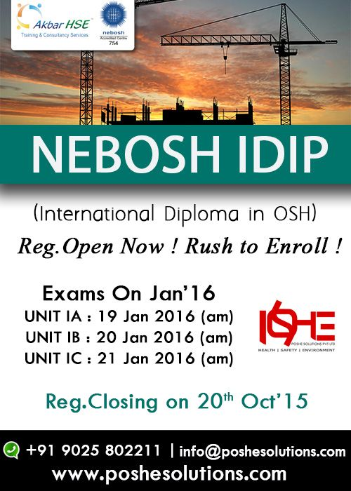 POSHE Provides NEBOSH International Diploma Course Nebosh Idip Get World Class Tutor Support For