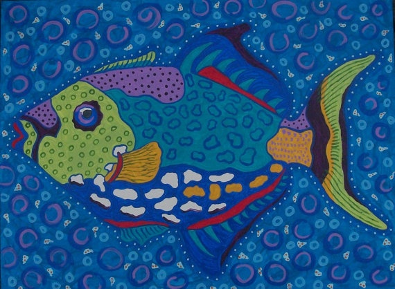 Trigger Fish Print 12x16 on Archival paper from by ClayFish, $35.00