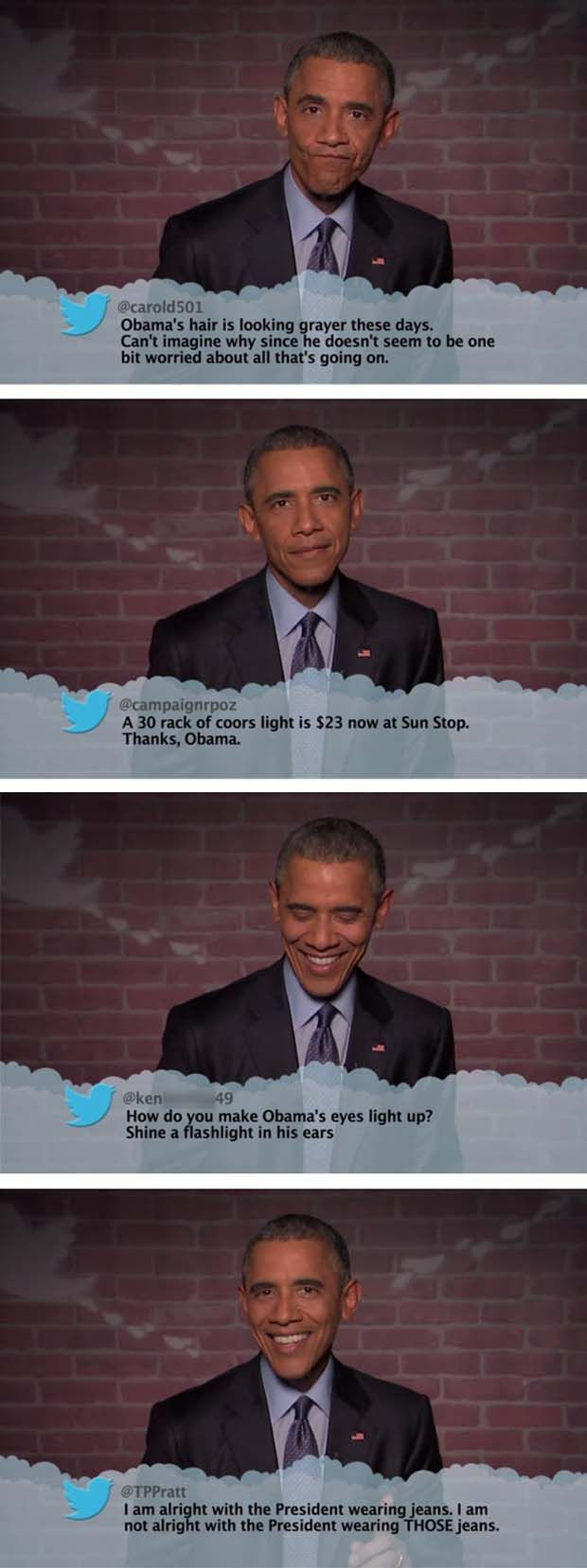President Obama Reads Mean Tweets About Himself - 4 Pics