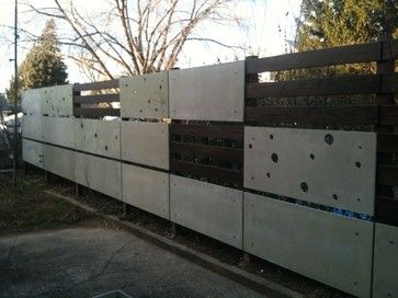 New Jersey house back yard fence - part of a makeover project contemporary-fencing. Сoncrete panels and wood combination