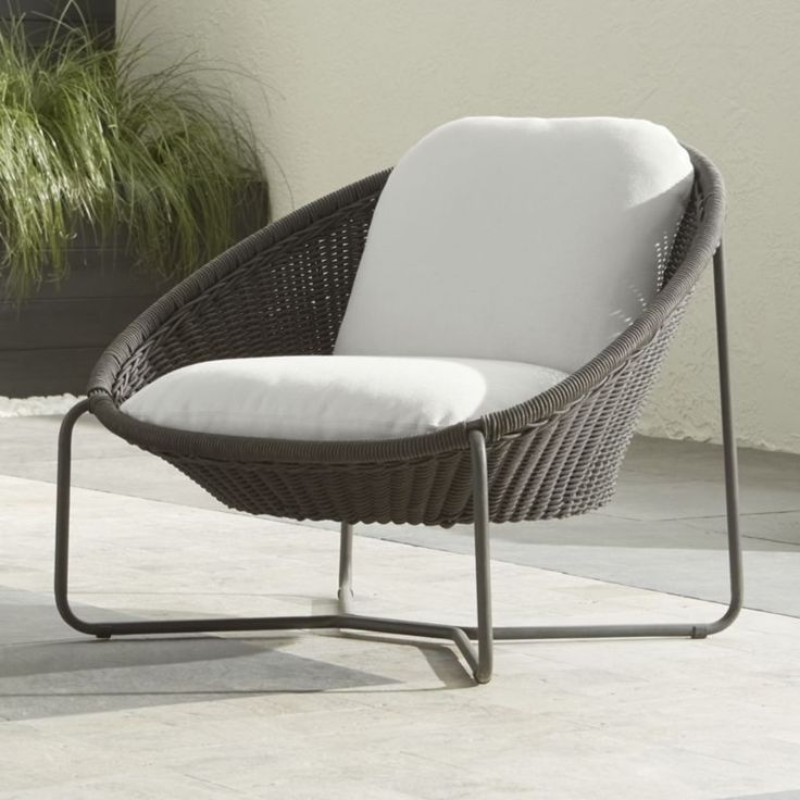 Morocco Charcoal Oval Lounge Chair With Cushion   Crate And Barrel