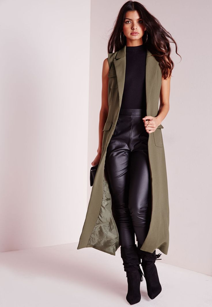 Missguided Sleeveless Longline Utility Duster Jacket