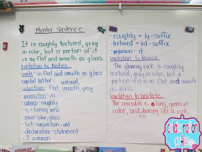 Idea for using mentor sentences - choosing one sentence a week from a mentor text and each day doing a different activity with the sentence.
